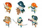 Isometric pirate ship crew corsair buccaneer filibuster sea dog sailors fantasy RPG treasure game characters flat design vector illustration poster