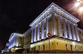 Beautiful night view of Admirality in Saint Petersburg. lanterns create colorful illumination for prominent russian landmark. Saint-Petersburg, poster