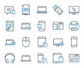 Mobile device line icons. Laptop, Tablet PC and Smartphone icons. HDD, SSD and Flash drive. Headphones, Printer and tablet device. Mouse, ssd disk, mobile laptop. Memory hdd drive. Colorful design set poster