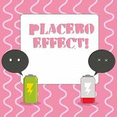 Text sign showing Placebo Effect. Conceptual photo a beneficial effect produced by a placebo drug or treatment Fully Charged and Discharged Battery with Two Colorful Emoji Speech Bubble. poster