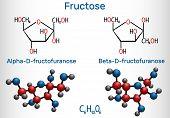 Fructose, alpha-D-fructofuranose, beta-D-fructofuranose molecule. Cyclic form. Structural chemical formula and molecule model. Vector illustration poster