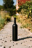 black bottle on the road from the tiles, the village, rural alcoholism, drunkenness. alcoholic illness. wine natural drink. wine poster