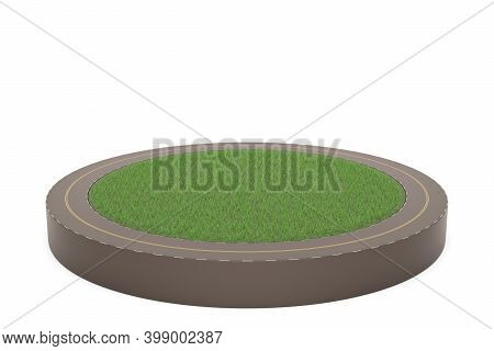 Ring Road And Grassland Isolated On White Background, 3D Illustration.