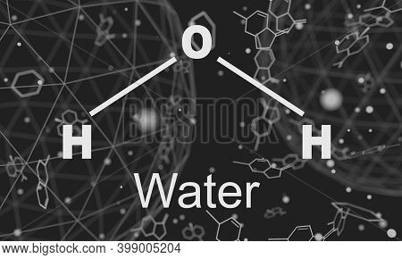Water Natural Inorganic Compound. Water Molecular Structure. Lines And Dots Connected Background. 3d