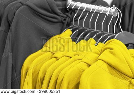 Hoodie Hang On Hangers Trendy Color Of Year 2021 Illuminating And Ultimate Gray.