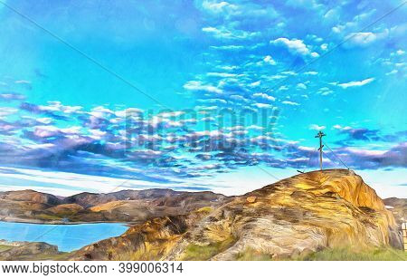 Scenery Landscape Of Barents Sea Shoreline Colorful Painting Looks Like Picture.