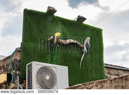 Nazareth, Israel, December 05, 2020 : Decorative Artificial Parrot On The Wall Near The Opening Hour