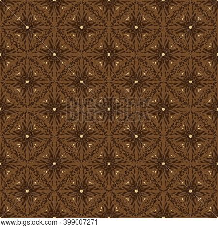 Elegant Dark Brown Color On Fabric Jogja Batik With Modern Flower Motif Design.