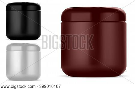 Cosmetic Cream Jar. Round Plastic Beauty Container Mockup For Creme Or Lotion, Isolated On White. Gl