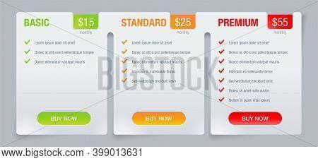 Tariff Comparsion Table Block - Web Ui Chart Template - Basic, Standard, Premium Tariffs - Three Inf