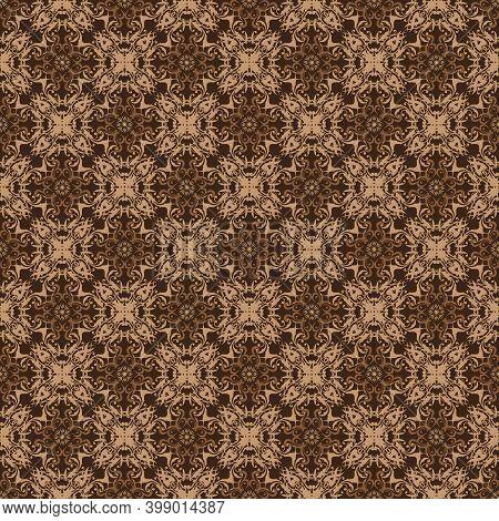 Geometric Ethnic Pattern On Javanese Batik With Elegant Brown Color Design.