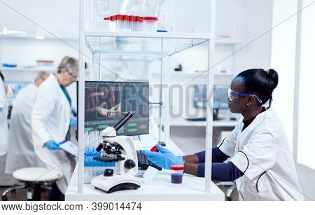 Scientist With African Ethnicity Conducting Virus Analysis With Her Team In Modern Facility. Black H