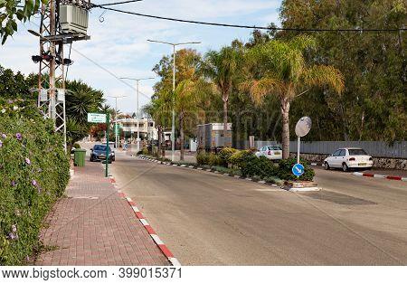 Nazareth, Israel, December 05, 2020 : The Main Street In The Muslim Circassian - Adyghe Village Kfar