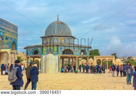 Jerusalem, Israel - Jan 2, 2020: Dome Of The Chain, Islamic Shrine On The Temple Mount In The Old Ci