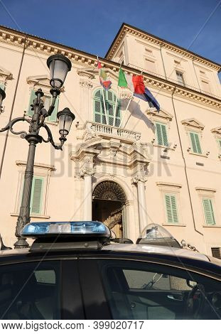 Rome, Rm, Italy - March 3, 2019: Palace Of Quirinale Residence Of The Italian President Of The Repub