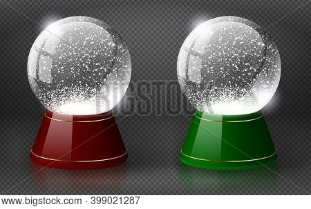 Red And Green Vector Snow Globe Empty Template Isolated On Transparent Background. Christmas Magic B