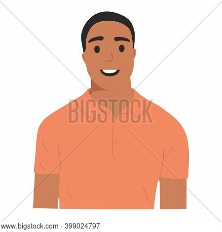 Portrait Of An Afro-rican Guy With A Pleasant Smile In A T-shirt, Flat Illustration. Isolated On Whi