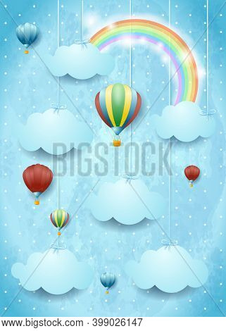 Surreal Cloudscape With Hot Air Balloons And Rainbow. Vector Illustration Eps10