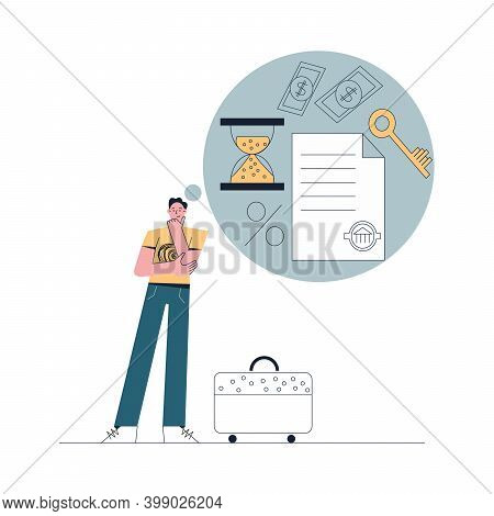 Mortgage Concept Man With Suitcase Thinking About Buying Real Estate Process Of Loan Origination Fla