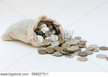 The Bag Of Money Fell, And Many Russian Coins Fell Out Of It. The Idea Is Misuse Of The Budget. Unre