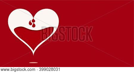 Blood Donation Concept. Save Life. Metaphor Of Heart Dripping Fluid Blood For Collection For Transfu