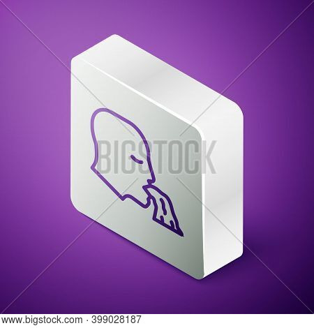 Isometric Line Vomiting Man Icon Isolated On Purple Background. Symptom Of Disease, Problem With Hea