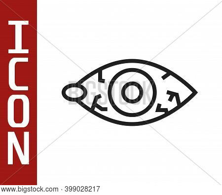Black Line Reddish Eye Due To Viral, Bacterial Or Allergic Conjunctivitis Icon Isolated On White Bac