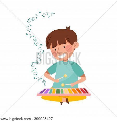 Little Boy Sitting On Floor With Sticks And Playing Xylophone Vector Illustration