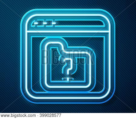 Glowing Neon Line File Missing Icon Isolated On Blue Background. Vector