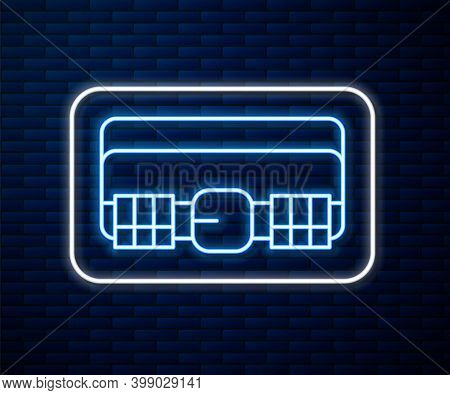 Glowing Neon Line Hunting Cartridge Belt With Cartridges Icon Isolated On Brick Wall Background. Ban