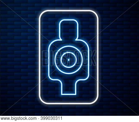 Glowing Neon Line Human Target Sport For Shooting Icon Isolated On Brick Wall Background. Clean Targ
