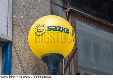 Prague, Czech Republic - July 10, 2020: Logo And Sign Czech Betting Company Sazka.