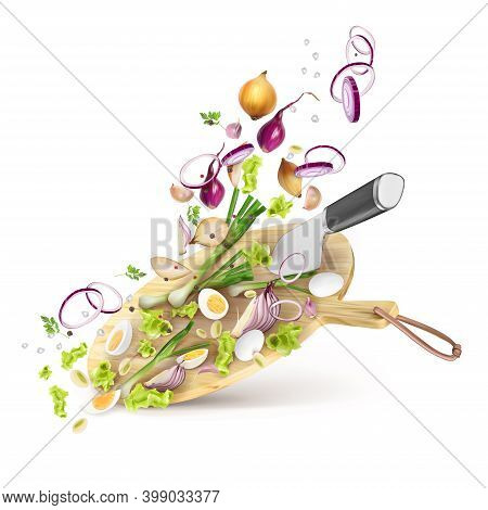 Cooking Fresh Salad From Onions, Herbs, Eggs, Spices. 3d Realistic Vector Composition Isolated On Wh