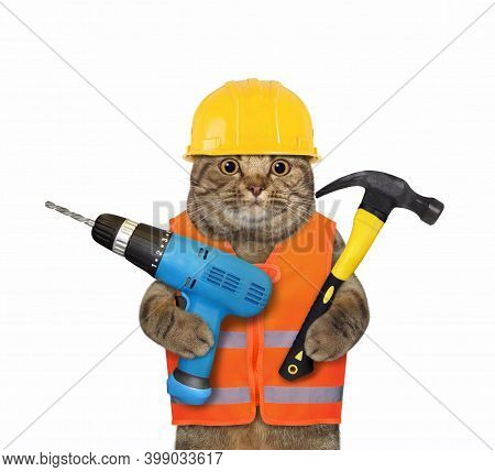 A Cat Worker In A Yellow Construction Is Holding A Blue Hand Electric Drill And A Hammer. White Back