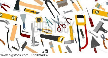 Construction Tools. Background. For Work As A Painter, Carpenter, Builder, Handyman. Repair And Cons