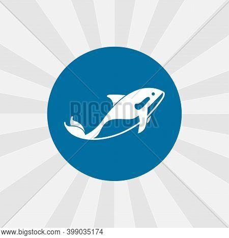 Orca Killer Whale Isolated Vector Icon. Sea Animal Design Element