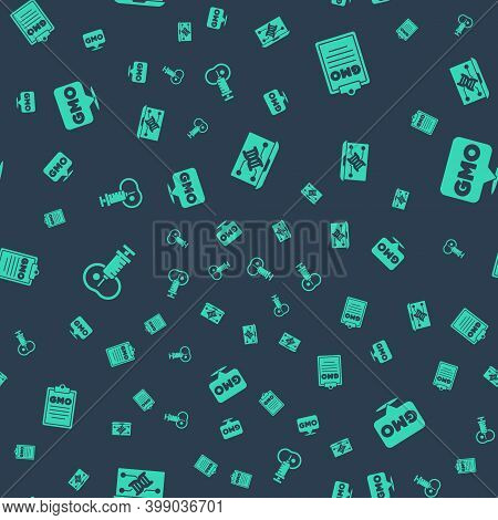 Set Genetic Engineering Modification, Gmo, Genetically Modified Meat And On Seamless Pattern. Vector