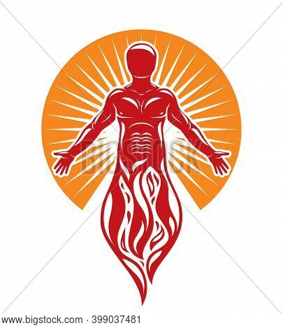Vector Graphic Illustration Of Muscular Human, Self. The Sun God Fiery Ra, Mystic Ancient God Metaph