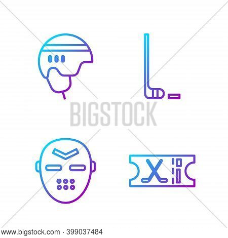 Set Line Hockey Sports Ticket, Hockey Mask, Hockey Helmet And Ice Hockey Stick And Puck. Gradient Co