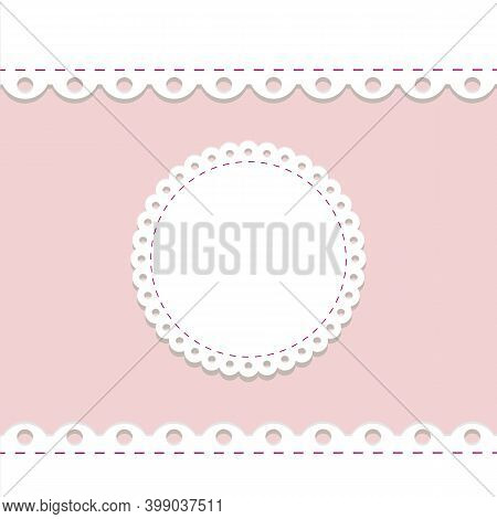 Lacy Frame And Border Template. Cute Round Doily On Pink Background With Scallop Border. Vector Temp