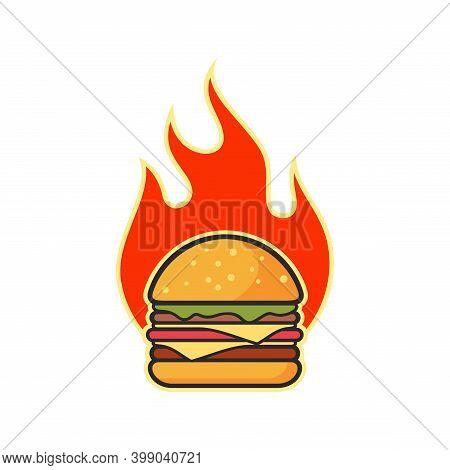 Big Burger Hot Spicy Icon Flat Logo Vector Design Concept