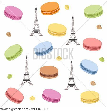 Seamless Pattern With Colorful French Macaroons And Eiffel Tower. Vector Illustration For Design.