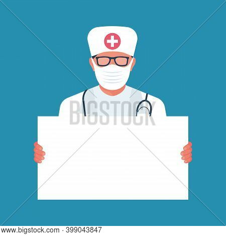 Doctor Holding Blank Board In Hands. Doctor In A Protective Medical Mask On The Face. Template For I
