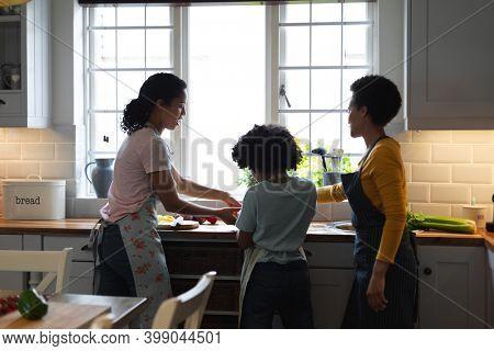 Mixed race lesbian couple and daughter preparing food in kitchen. self isolation quality family time at home together during coronavirus covid 19 pandemic.