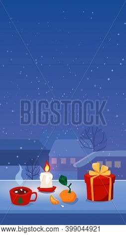 Cozy Christmas Stories Format , Home Isolation, Snowfall In Town, Candle Gift And A Cut Of Hot Drink
