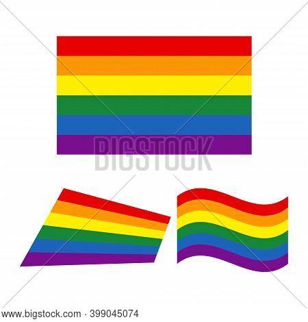 Rainbow Flag Minority Sex. Freedom And Pride Rainbow Flag. Lgbt Community And Movement Of Sexual Min