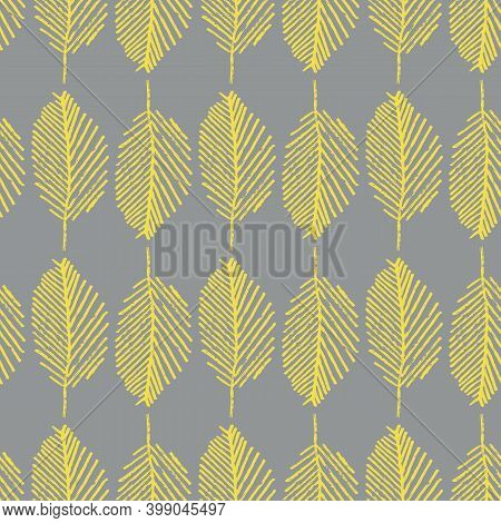 Gray Yellow Mono Print Style Leaves Seamless Vector Pattern Background. Backdrop Vertical Rows Of Si