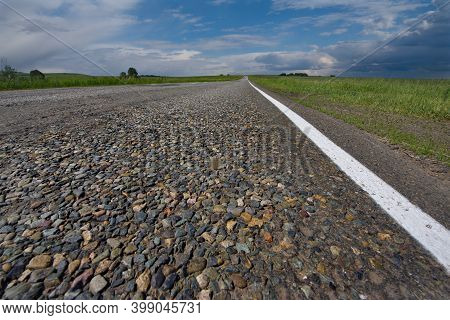 Russia. South Of Western Siberia. Roads With Anti-ice Coating Are Very Common In The Harsh Climate O