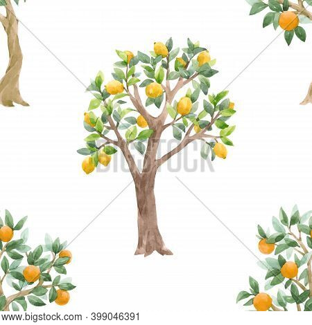 Beautiful Vector Seamless Pattern With Cute Watercolor Fruit Trees. Stock Orchard Illustration.