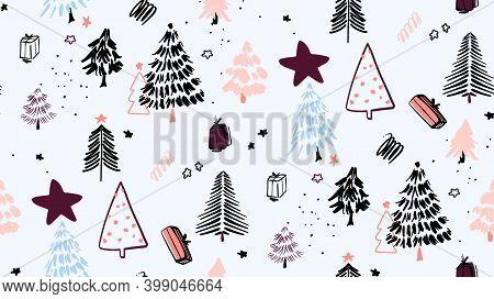 Christmas Tree Background Ornaments, Winter Evegreen Fir Branch Pine Tree Seamless Geometric Pattern